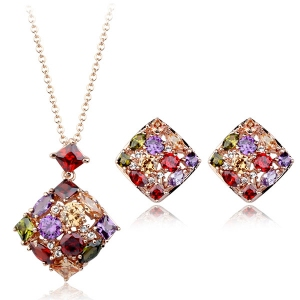 Fashion luxury colorful zircon jewelry s...
