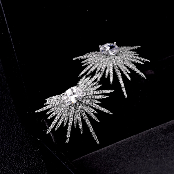 Allencoco European and American wind luxury feather earrings 20843602