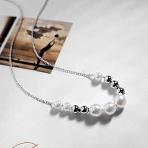 R.A Simple Pearl Strings Necklace 201087