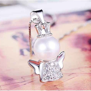 Platinum Crown Angel Pendant (without ch...