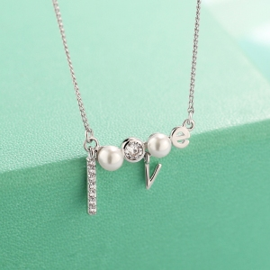 AllenCOCO Creative LOVE Diamond Pearl Ne...