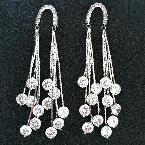 AllenCOCO European and American luxury tassel zircon earrings 20846702