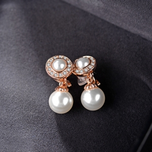 AllenCOCO Fashion micro-diamond pearl ea...