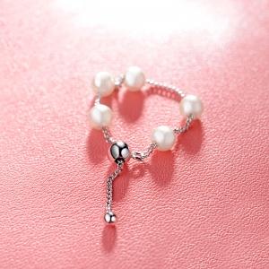 AllenCOCO Simple pearl adjustable ring 1...