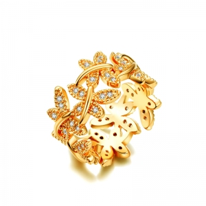 AllenCOCO Flower Zircon Ring 10321002