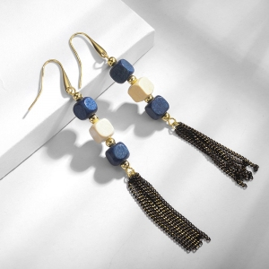 R.A wood bead tassel earring  821627