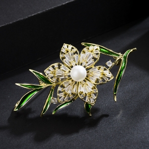 R.A zircon flower brooch 850413