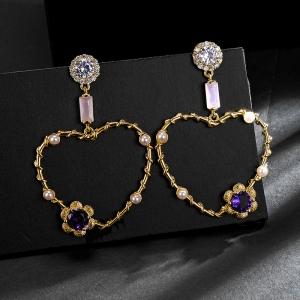 Allencoco heart star earring  208880