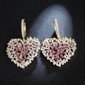 Allencoco zircon heart earring  20883202