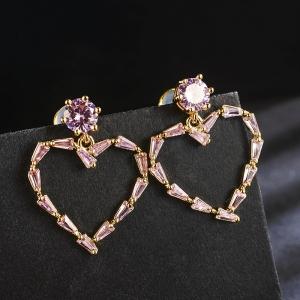 Allencoco zircon heart earring 208865