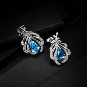 Allencoco zircon leaf earrings  208854
